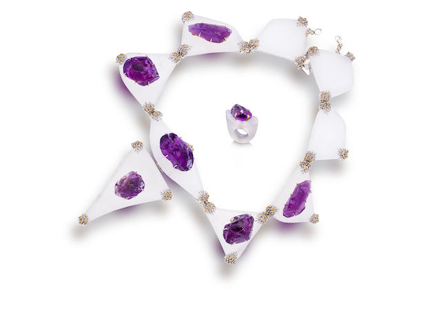 An amethyst and frosted glass necklace and ring, Tony Duquette