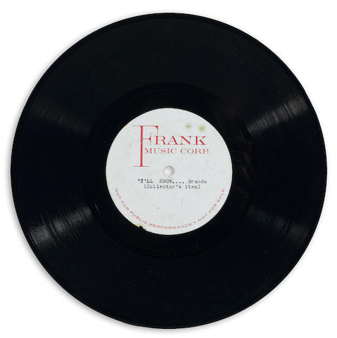 "A 78 RPM test pressing of Marlon Brando singing ""I'll Know"" in rehearsal for Guys and Dolls"