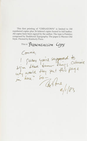 Chinatown screenplay signed and inscribed by Robert Towne, 1983