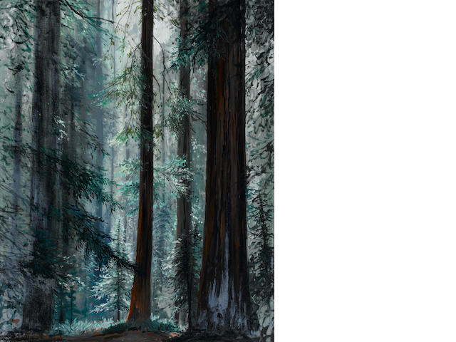 "A PETER ELLENSHAW FRAMED OIL PAINTING ENTITLED ""LIGHT IN THE FOREST."""