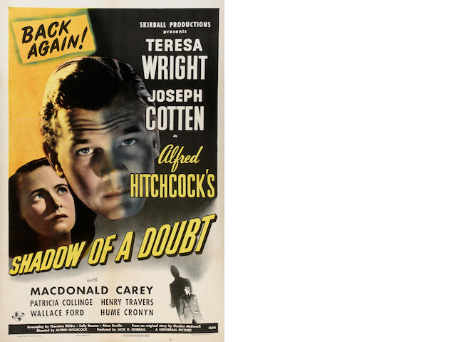 SHADOW OF A DOUBT 1946 ONE SHEET, LINEN BACKED