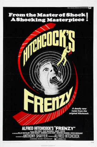 A GROUP OF EIGHT ALFRED HITCHCOCK POSTERS: THE 39 STEPS, FRENCH REISSUE; FRENZY, 1972, 1 SHEET,LB; FAMILY PLOT, 1976, 1 SHEET, LB; TORN CURTAIN, 1966, 1 SHEET, LB;  THE LADY VANISHES, 1952R, 1 SHEET, LB; THE PARADINE CASE, 1948, 1SHEET, LB; TOPAZ,1969, 1 SHEET, LB; TOPAZ, BRITISH QUAD, 1969, LB.