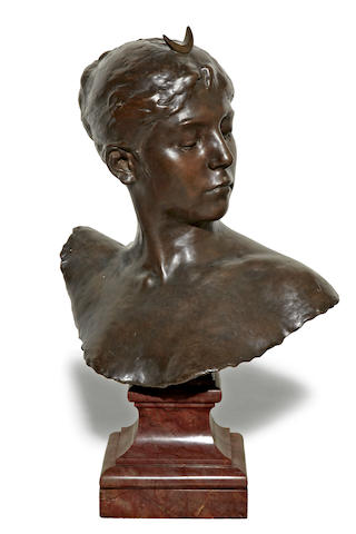 A French patinated bronze bust of Diana<BR />after a model Alexandre Falguière (French, 1831 - 1900)<BR />Thiébaut Frères foundry, Paris<BR />late 19th century