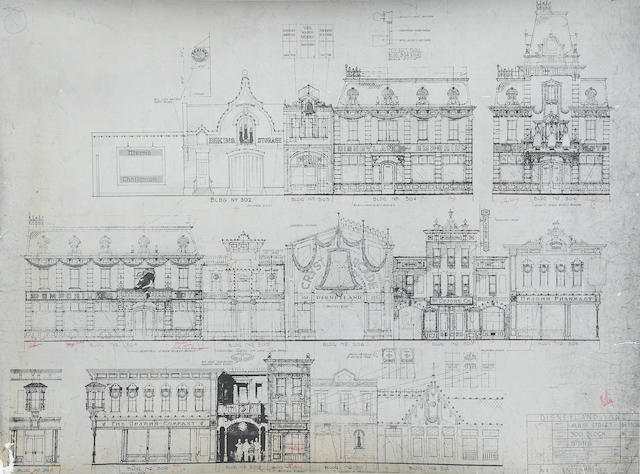 A GROUP OF THREE ANNOTATED COPIES OF ELEVATIONS FOR DISNEYLAND'S MAIN STREET, USA.