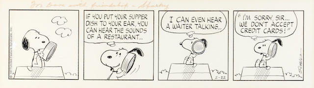 CHARLES SCHULZ SNOOPY, FOUR PANEL DAILY, 1977.  INSCRIBED AND SIGNED.