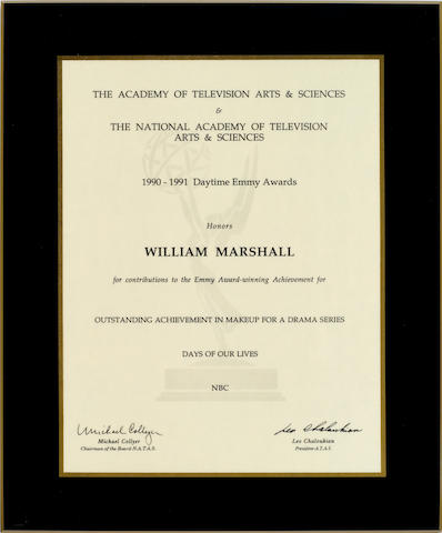 A William Marshall Daytime Emmy nomination certificate, 1991