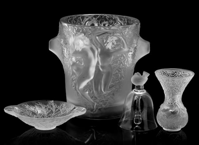 A group of Lalique table decorations