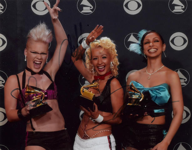 A LADY MARMALADE PHOTO & CD, SIGNED BY PINK, MYA & CHRISTINA AGUILERA.