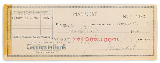 A Mae West signed check to her brother, 1937