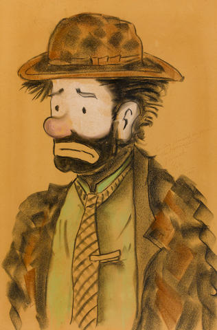 AN EMMETT KELLY SR. LARGE FRAMED ILLUSTRATION OF A CLOWN.