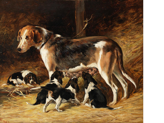 John Emms (British, 1843-1912) A Foxhound bitch feeding her pups 14 x 16 in. (35.5 x 41 cm.)