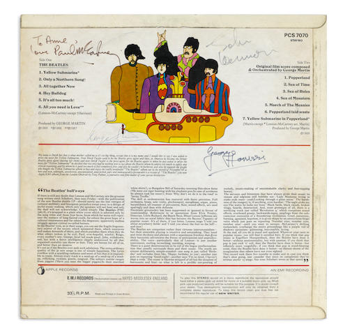 A Paul McCartney-inscribed copy of the Beatles' Yellow Submarine LP