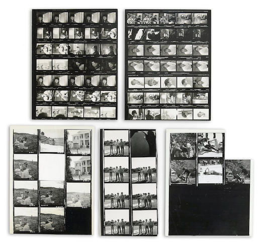 A group of Beatles black and white contact sheets from Help!, 1965
