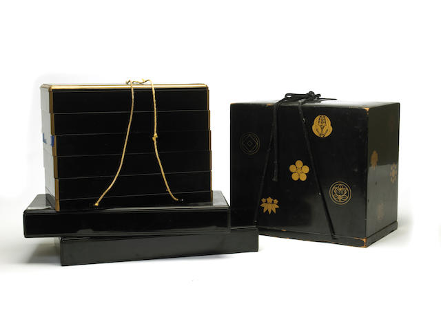 Four Japanese lacquer boxes for inro storage