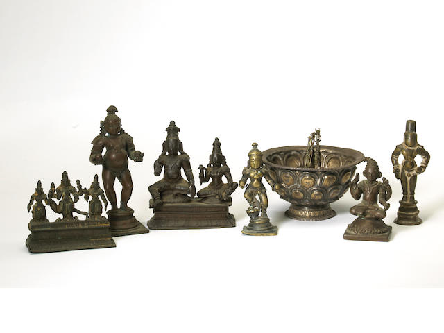 A group of Indian miniature metal Hindu deities