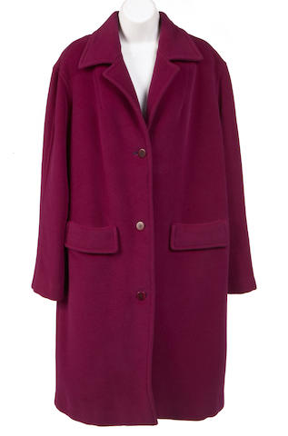 A Donna Karan long purple wool coat