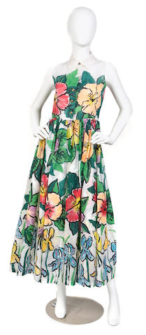 A Todd Oldham sleeveless notch collar sheer multi-color flower print over-dress