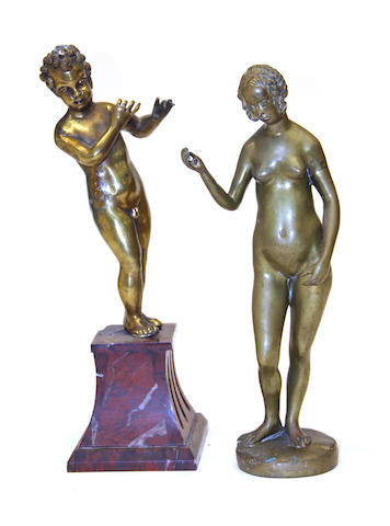 A Renaissance style gilt bronze figure of Venus and a bronze figure of a putto 19th/20th century
