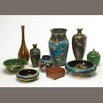A group of Chinese and Japanese cloisonné enameled metal decorations
