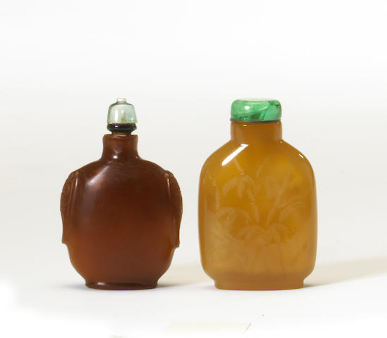 Two carved snuff bottles