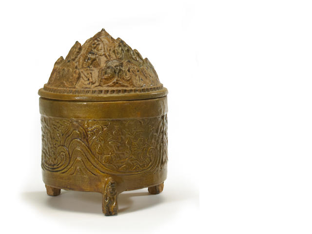 An olive glazed pottery censer and cover Han dynasty style