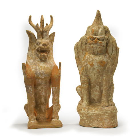 Two painted pottery tomb guardian figures China, Tang dynasty