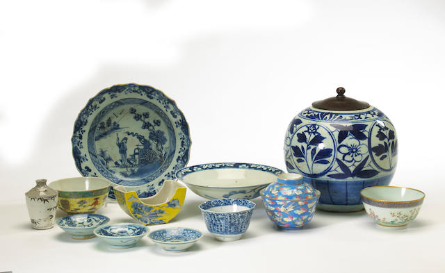 A large group of Chinese blue and white and enameled ceramics 18th through 20th centuries
