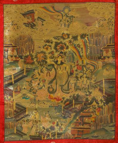 Two Tibetan style thangkas 20th century