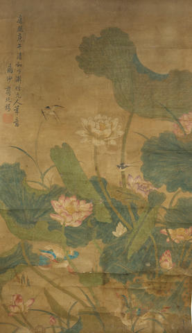 Anonymous Two Paintings of Birds and Flowers