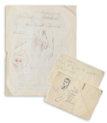 A group of Marlon Brando sketches and notes