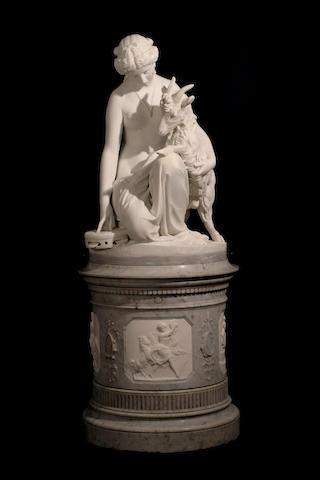 Antonio Rossetti (Italian, born 1819) Esmeralda and Djali 38 x 27 x 27in (96.5 x 68.5 x 68.5cm) excluding base; pedestal 33 x 29 x 29in (84 x 74 x 74cm)