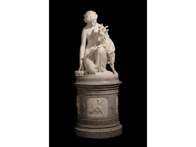 Antonio Rossetti (Italian, born 1819) Esmeralda and Djali 38 x 27 x 27in (96.5 x 68.5 x 68.5cm) excluding base; pedestal 33 x 29 x 29in (84 x 74 x 74cm)