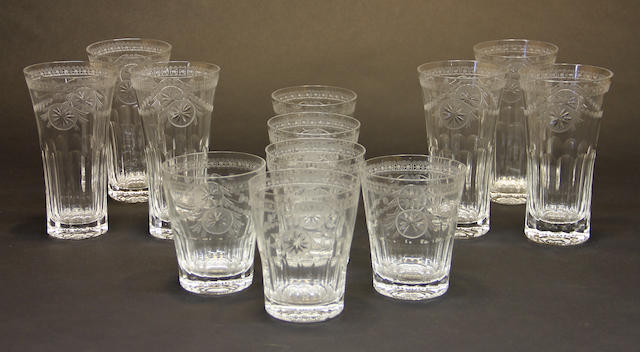 Six William Yeoward engraved glass double old fashioned and six highball tumblers in the Pearl pattern