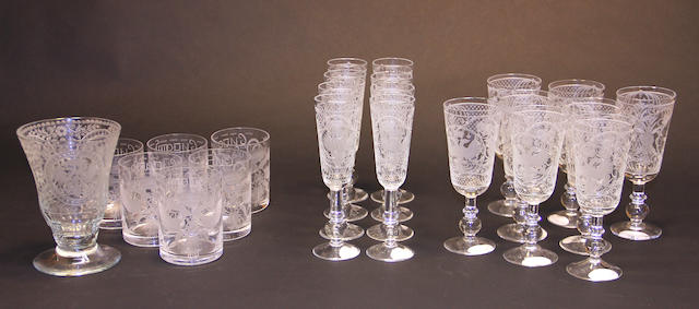 An assembled suite of engraved glass stemware with Russian motifs
