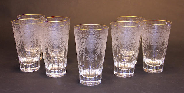 Eight Moser engraved and gilt glass highball tumblers in the Maharani pattern (4400)