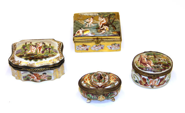 Four Capodimonte style porcelain trinket boxes early 20th century