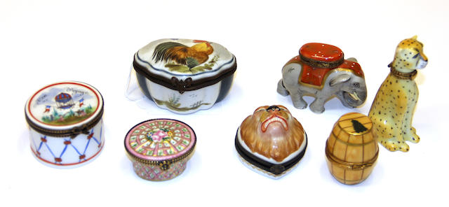 Seven Limoges porcelain trinket boxes second half 20th century