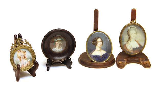 Four portrait miniatures depicting ladies of fashion late 19th/early 20th century