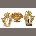 A pair of Neoclassical style giltwood and tôle two light wall sconces and a giltwood basket of flowers late 20th century