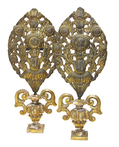 A pair of Spanish Colonial giltwood and gilt repoussé brass altar decorations 19th century