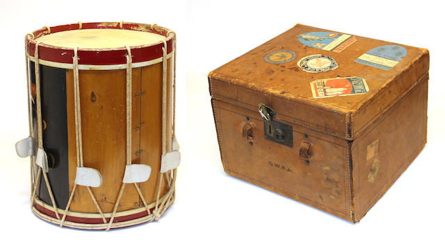 An English regimental drum and a leather traveling case first quarter 20th century