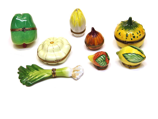 Eight Limoges porcelain fruit and vegetable form trinket boxes fourth quarter 20th century