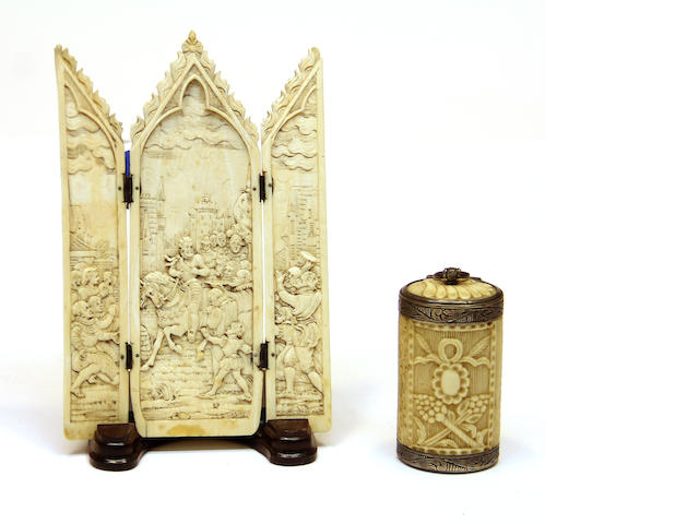 A French bone triptych and a silver mounted box second half 19th century