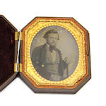 Four Union molded cases each containing an early photograph third quarter 19th century