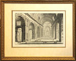 Two engravings after Piranesi of an interior view and an obelisk