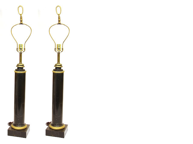 A pair of French tôle and gilt bronze columnar lamp standards first quarter 19th century