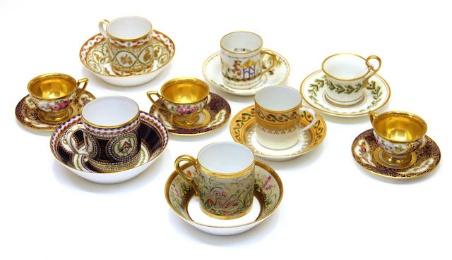 Nine various porcelain cups and saucers 20th century