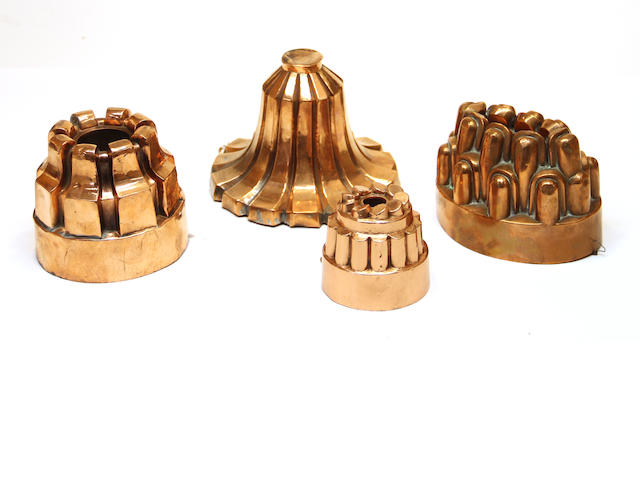 Four copper jelly molds late 19th century