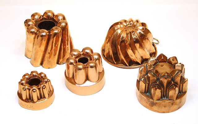 Five copper jelly molds late 19th century