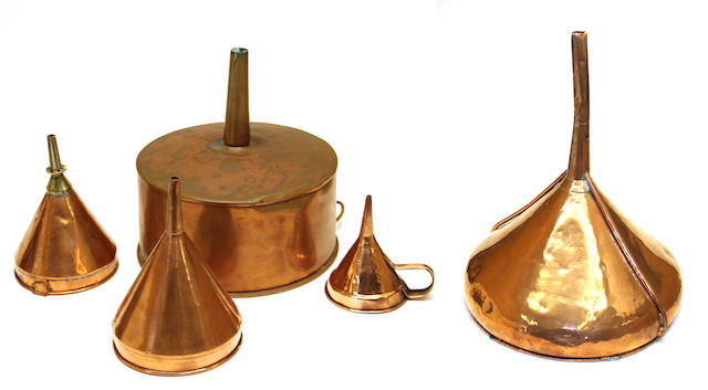 Five copper funnels in various sizes late 19th century